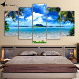 HD Printed Beach blue palm trees Painting Canvas Print room decor print poster picture canvas Free shipping/ny-4157
