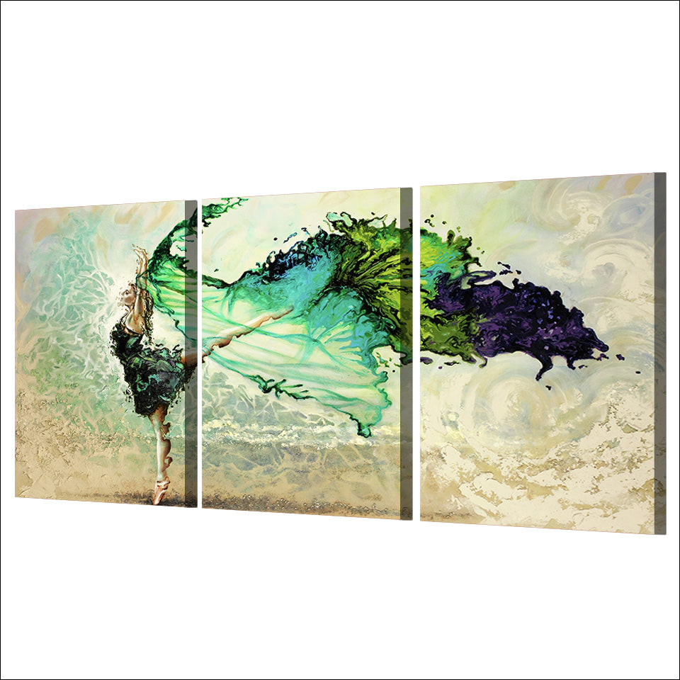 3 piece canvas art girl dancing canvas painting posters and prints paintings for living room wall free shipping ny-6658D
