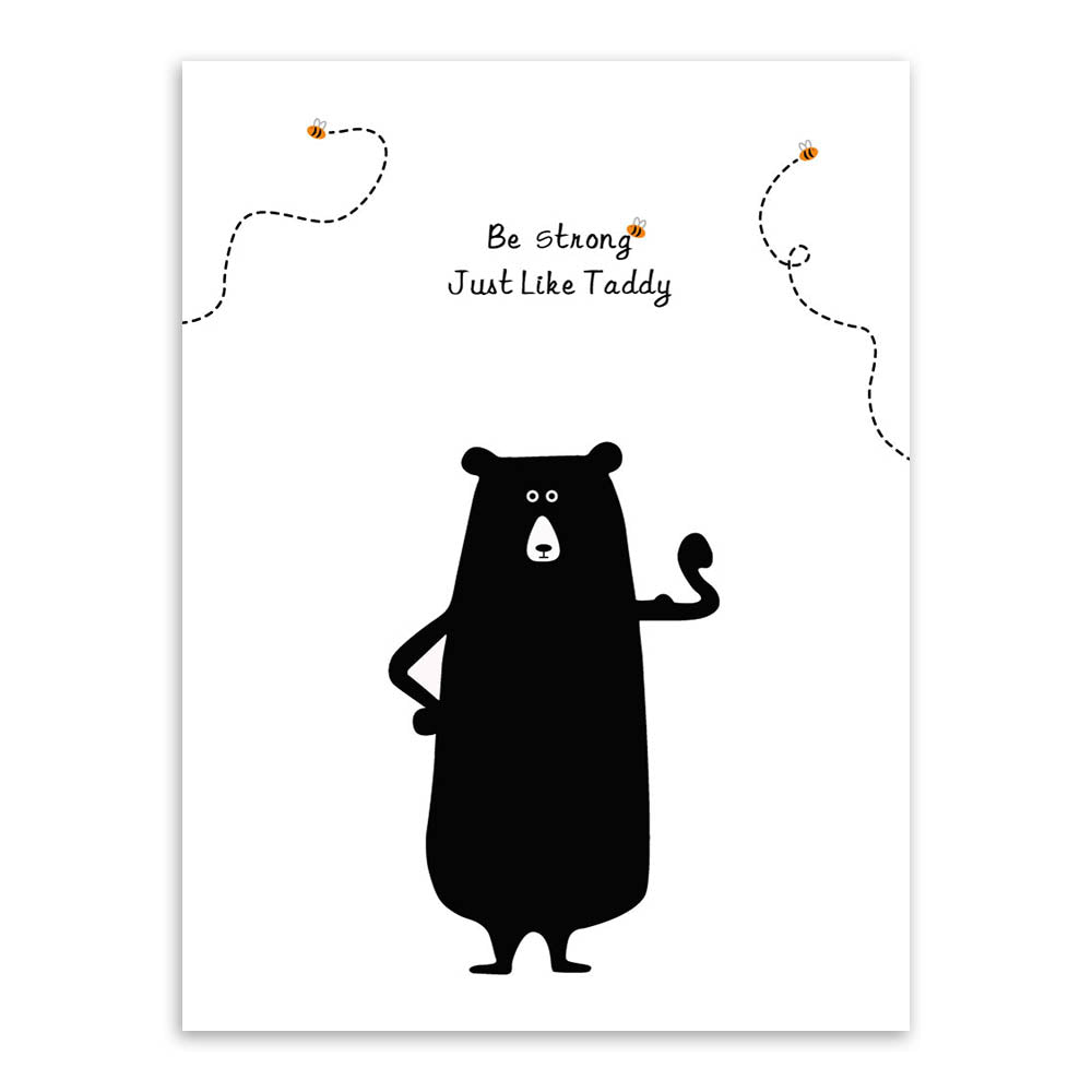 Modern kawaii bear bee motivational quotes canvas a4 art prints black white big wall pictures kids