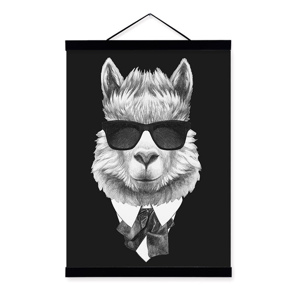 Modern Vintage Abstract Black White Mafia Animals Deer Fox Framed Canvas Paintin Nordic Home Decor Wall Art Print Picture Poster