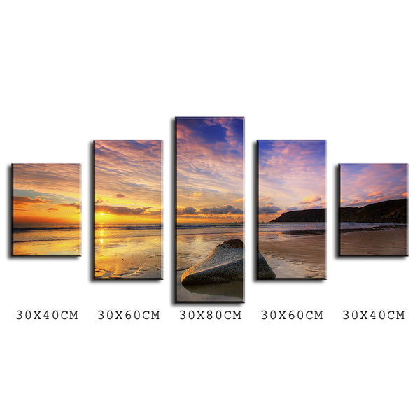 5 Panel calm summer sunset Modern Home Wall Decor Canvas Picture Art Print WALL Painting Set of 5 Each Canvas Arts Unframe