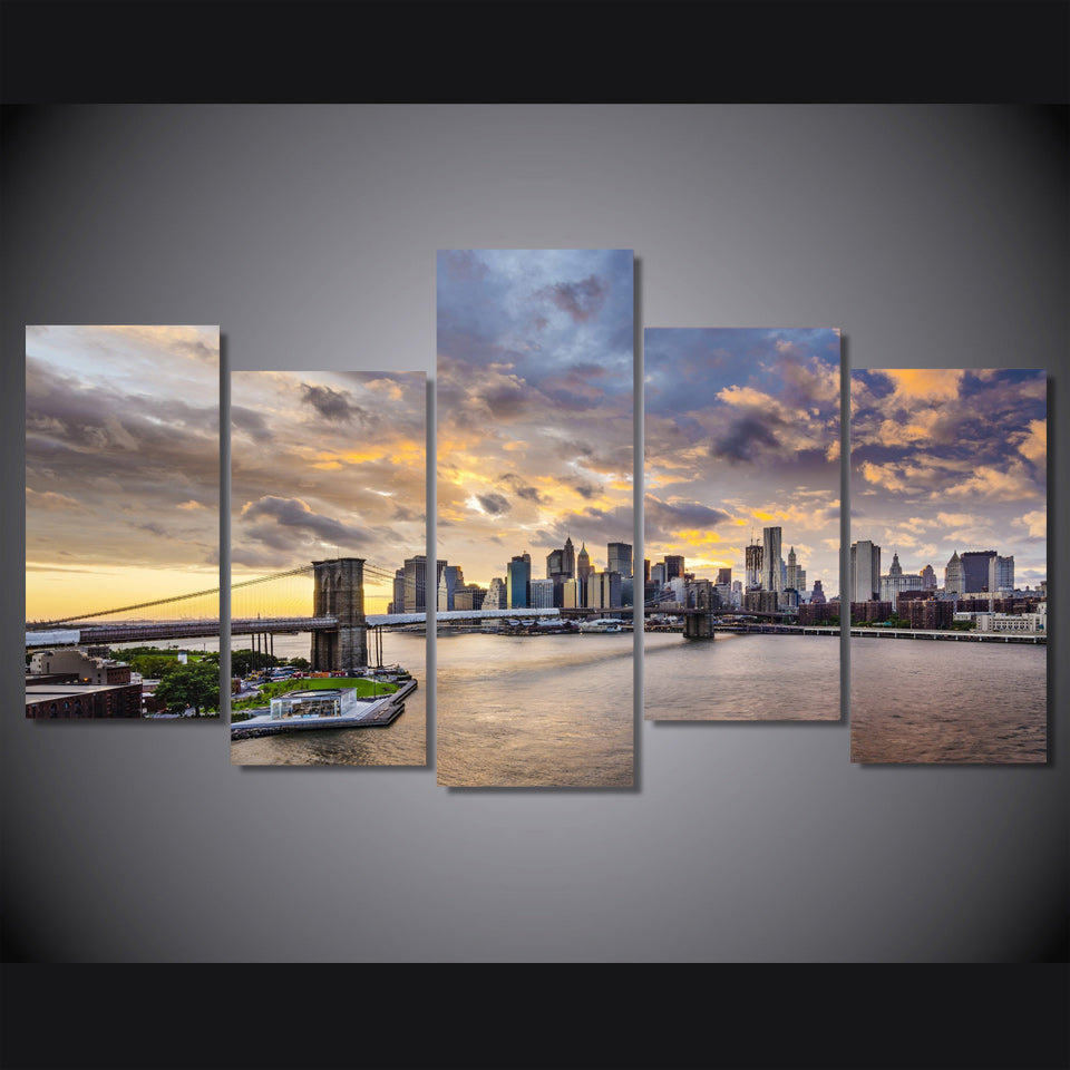 HD Printed City bridge poster 5 pieces Group Painting room decor print poster picture canvas Free shipping/ny-1171