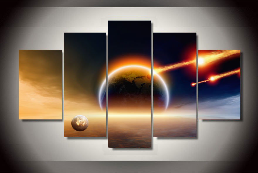 HD Printed Universe planet hit the Earth Painting Canvas Print room decor print poster picture canvas Free shipping/ny-2108