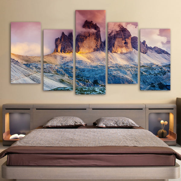 HD Print 4 piece canvas art  Fog Austria Dolomites mountain sunset Painting  wall pictures for living room Free shipping/NY-5785