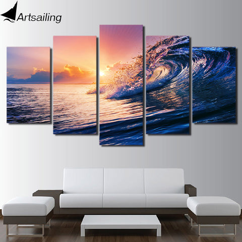 HD Printed ocean wave blue sea sky Painting Canvas Print room decor print poster picture canvas Free shipping/ny-2087
