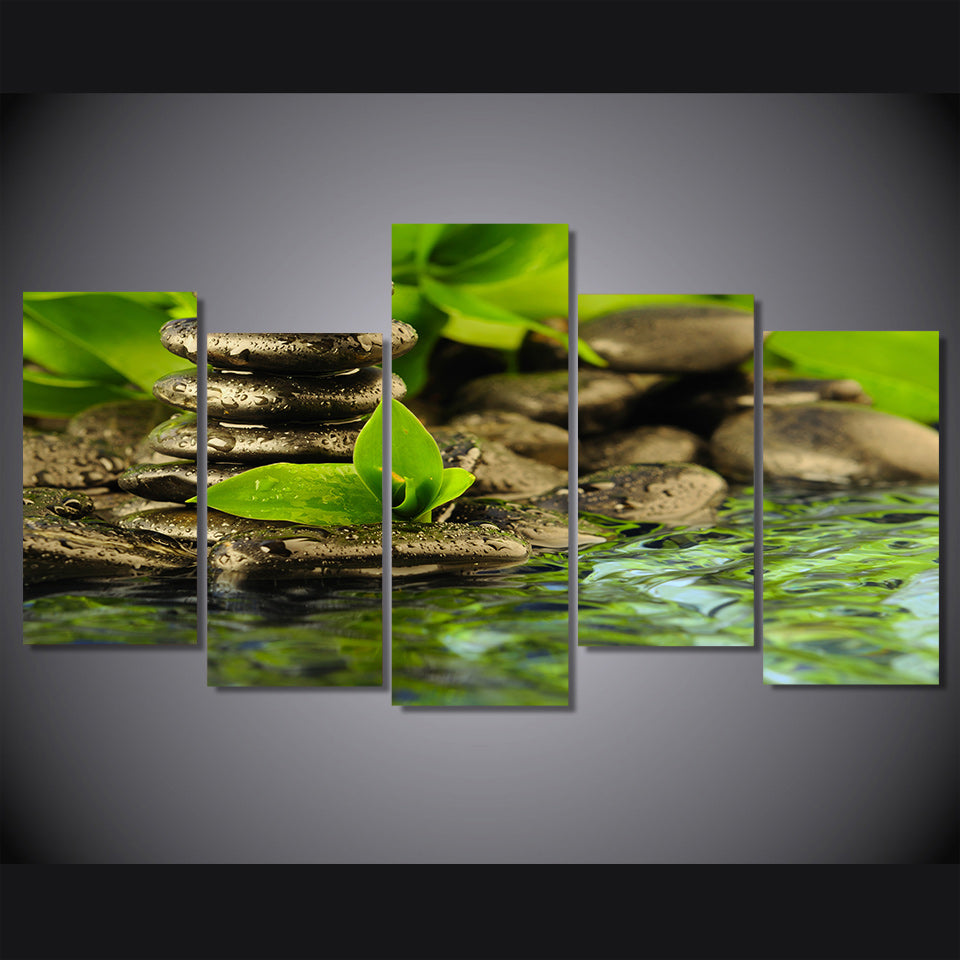 HD Printed 5 piece green water stream stone painting canvas wall art green  Free shipping/ny-4364