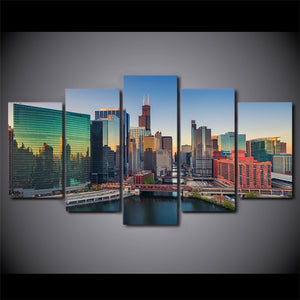 5 pieces canvas art city building skyscrapers poster HD print home decor wall pictures for living room canvas painting CU-1459C