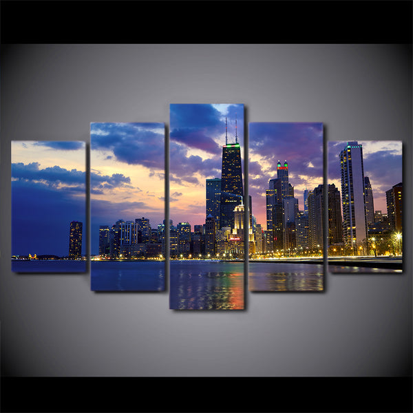 5 pieces canvas art busy city chicago evening poster canvas painting wall pictures for living room home decor CU-1457C