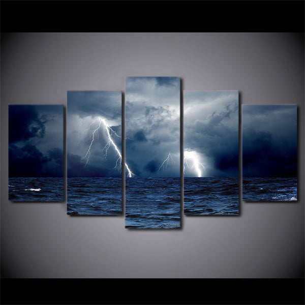 HD print 5 piece canvas cloud waves sea ocean storm lightning Painting seascape painting home decoration Free shipping/NY-5777