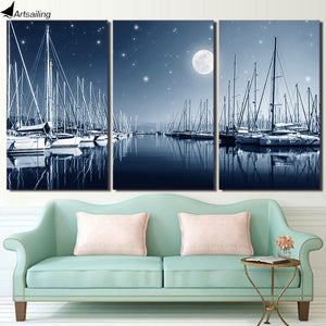 3 Panel Canvas Art Sailboats Moon Night Canvas Painting Wall Art Canvas Poster and Print Wall Pictures for Living Room ny-6636D