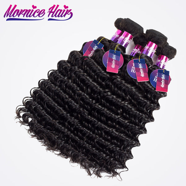 "Mornice Hair Malaysian Deep Wave Remy Hair 100% Human Hair Weave 1 Bundle 12""-26"" Hair Bundles  Free Shipping Natural Black 100g"