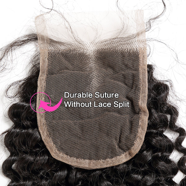 Luvin Brazilian Remy Kinky Curly Hair Lace Closure 4x4 Bleached Knots With Baby Hair Middle Part 100% Human Hair Shipping Free