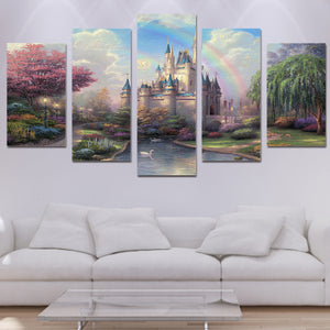 HD Printed cinderellas castle Painting on canvas room decoration print poster picture canvas framed Free shipping/ny-1015