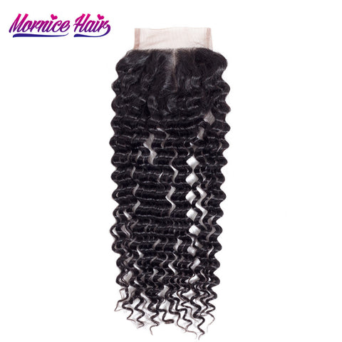 Mornice Hair Brazilian Deep Wave Lace Closure Remy Hair 4X4 Middle Part Closure Density 130% Bleached Knots Free Shipping