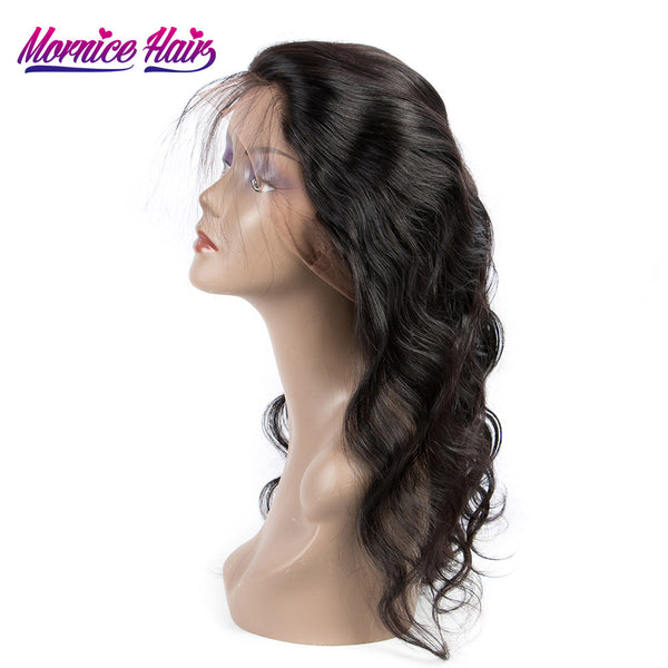 Mornice Hair Brazilian Body Wave Remy Hair Pre Plucked 360 Body Wave Full Lace Frontal Density 130% With Baby Hair Free Shipping