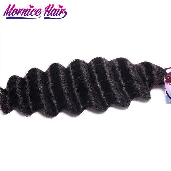 Mornice Hair Malaysian Hair Loose Deep Remy Human Hair Weave 1 Bundle More Wave 100g Natural Black Hair Bundles Free Shipping
