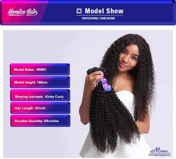Mornice Hair Peruvian Remy Hair Kinky Curly Human Hair Weave 100g Natural Black Color Free Shipping 1pcs Only