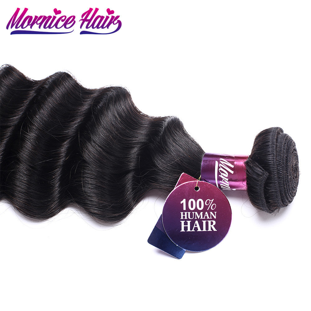Mornice Hair Peruvian Hair Loose Deep Remy Human Hair Bundles Weave Natural Black More Wave 12inch-26inch Free Shipping