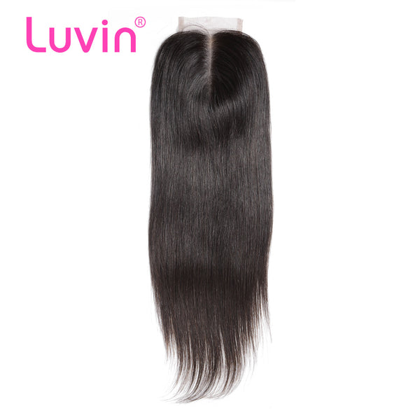 Luvin Peruvian Lace Closure Straight Bleached Knots 4x 4 With Body Hair Natural Color 100% Human Remy Hair Middle Free Part