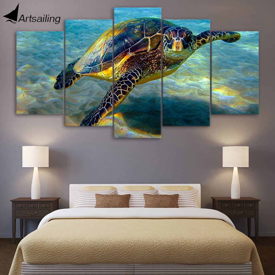 HD Printed 5 Piece Wall Art Canvas Deep Ocean Turtles Canvas Painting Posters and Prints Large Art Print Free Shipping ny-6503