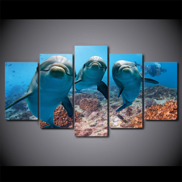 5 Piece painting HD Printed Deep Ocean Swimming Dolphin Paintings for Living Room Wall Posters and Prints Free Shipping CU-1510B