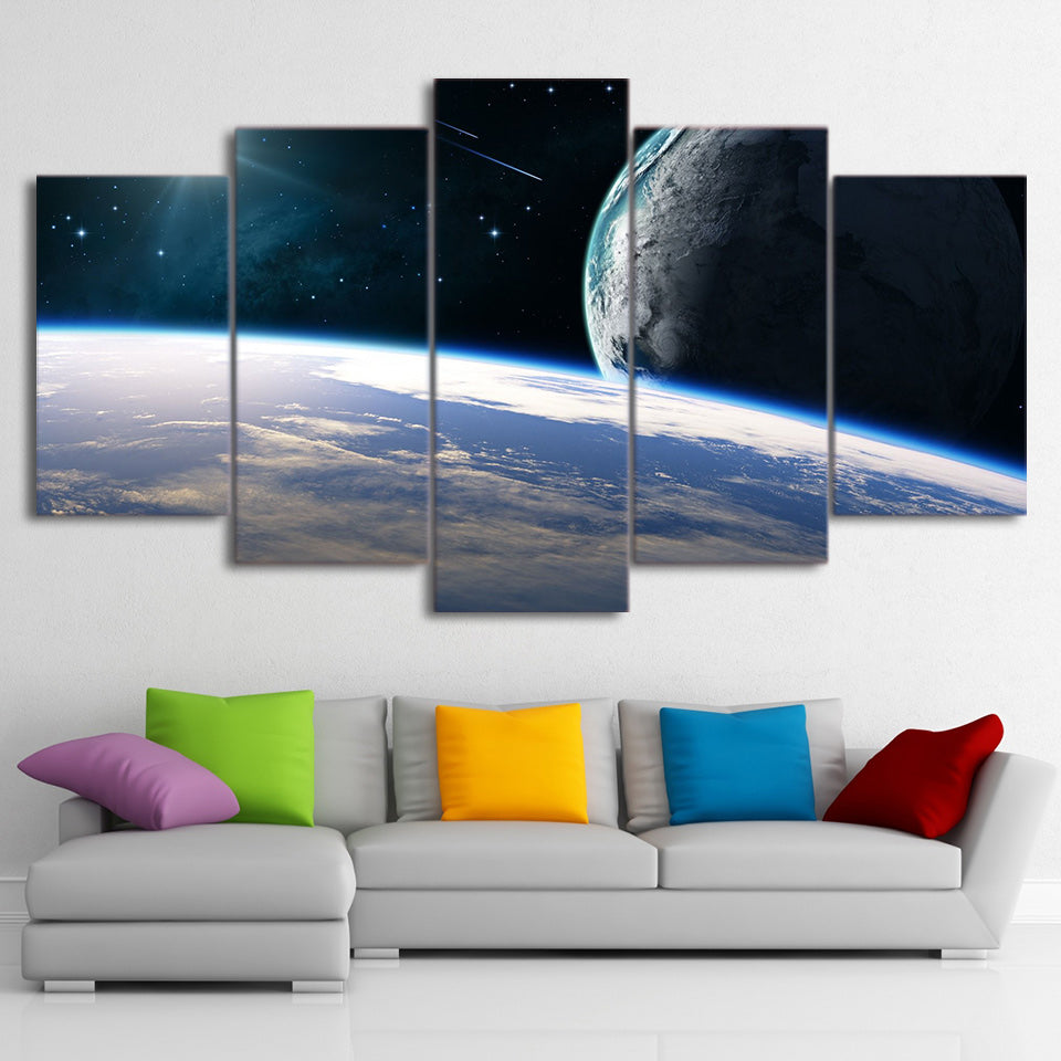Canvas Paintings Printed 5 Pieces Cosmic Planets Wall Art Canvas Pictures For Living Room Bedroom Modular Home Decor CU-1423A