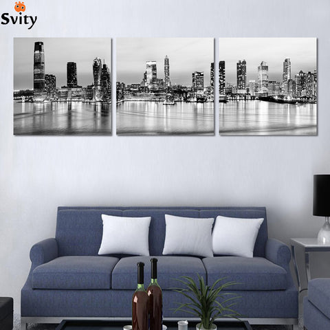 2016 3 pcs Black and white city building landscape print on canvas home decor for living room decorative picture best wholesale