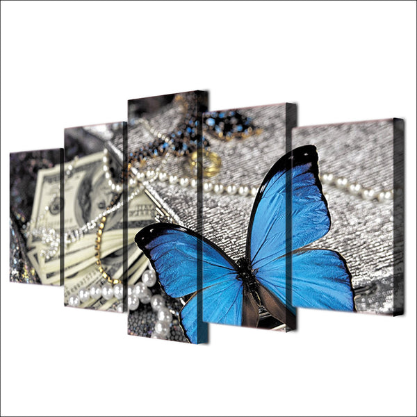 HD printed 5 Piece canvas painting wall pictures for living room modern butterfly Jewelry art print free shipping ny-6726B