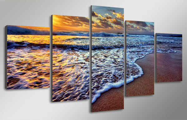 HD printed 5 piece canvas art seascape sunset sea beach painting beach poster sea poster  wall art canvas Free shipping/NY-5933