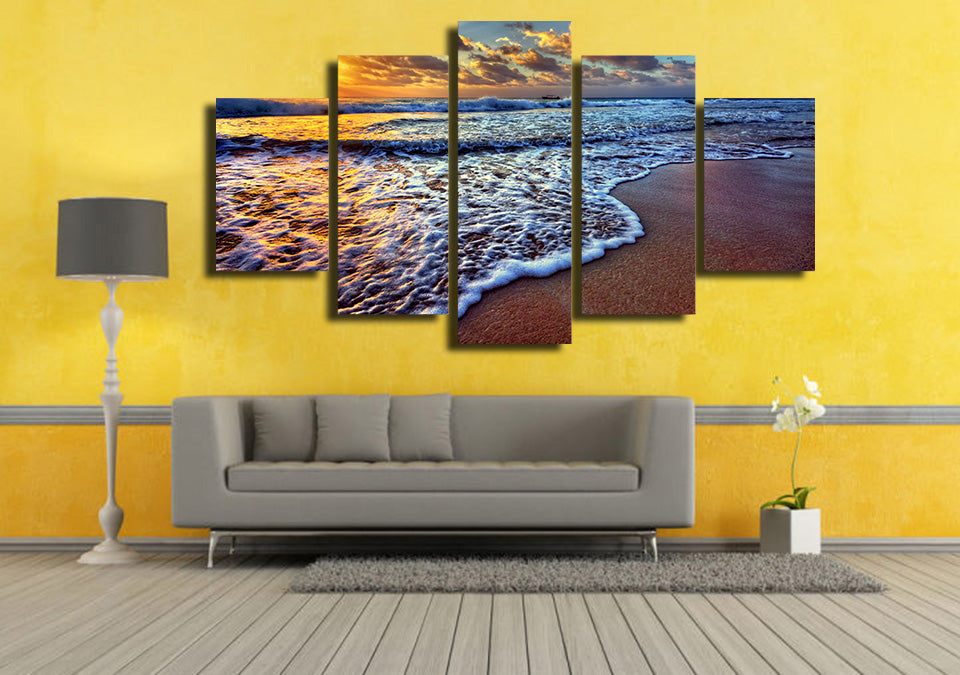 HD printed 5 piece canvas art seascape sunset sea beach painting ...