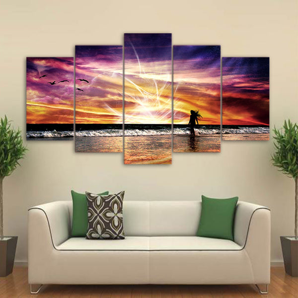 5 Piece Canvas Art Beach Rosy Clouds Canvas Painting Wall Art Canvas Posters and Prints Wall Pictures for Living Room ny-6628B