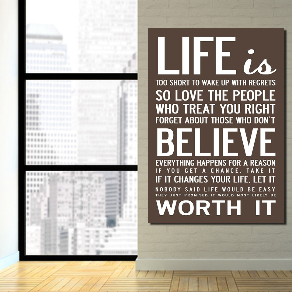 Hd Printed 1 Piece Canvas Life Quotes Paintings For Living Room Wall Home Decor Cultural Wall Art Letter Free Shipping Ny 6780b