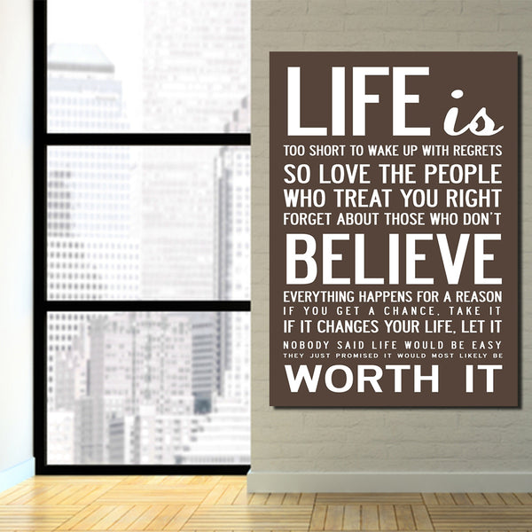 HD Printed 1 piece Canvas Life Quotes Paintings for Living Room Wall Home Decor Cultural Wall Art Letter Free Shipping ny-6780B