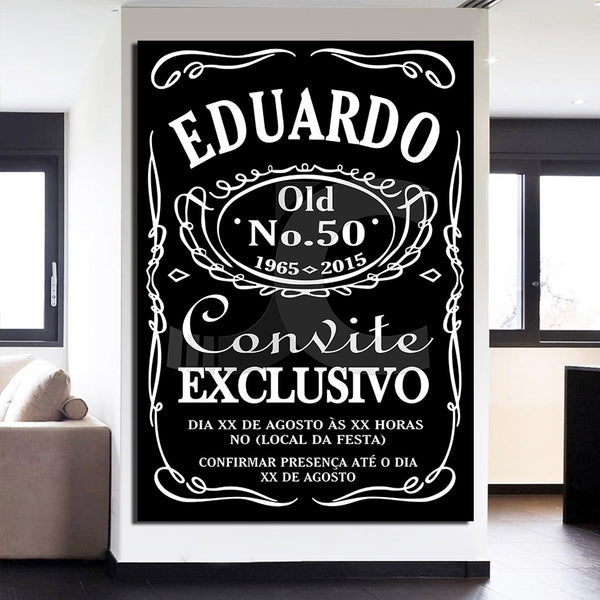 HD Printed 1 piece Canvas Painting Eduardo Jack Daniel Poster Black and White Painting Room Decoration Free Shipping/ny-6672D