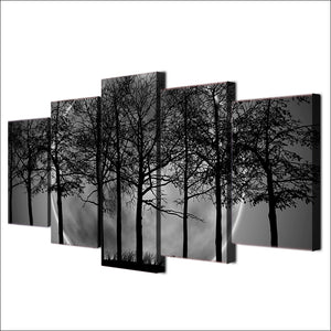HD printed 5 piece Black and white Painting Art Print Canvas Grey Psychedelic Forest Posters and Prints free shipping ny-6732B
