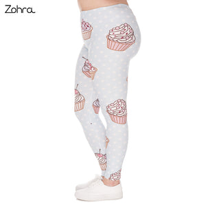 Large Size Leggings Muffin Dots Printed High Waist Leggins Plus Size Trousers Stretch Pants