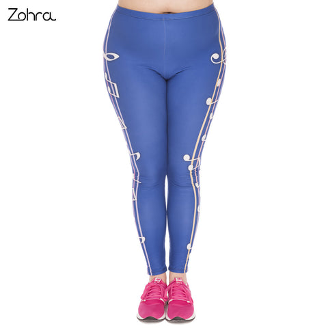 Large Size Leggings Color Music Printed High Waist Leggins Plus Size Fashion Trousers Stretch Pants