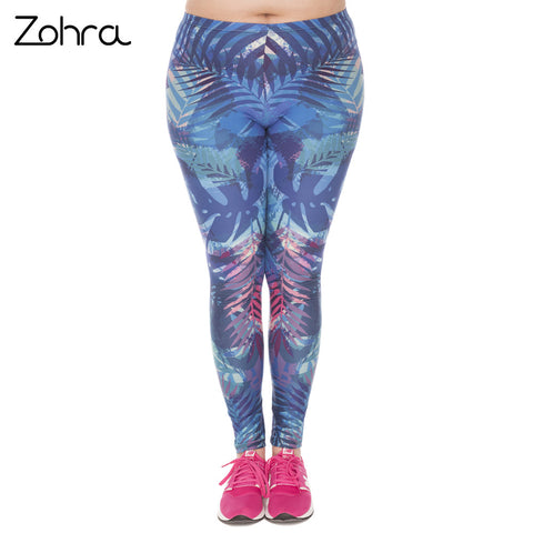 Large Size Leggings Tropical Leaves Blue Printed High Waist Leggins Plus Size Trousers Stretch Pants