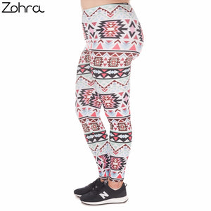 Large Size Leggings Boho Green Printed High Waist Leggins Plus Size Trousers Stretch Pants