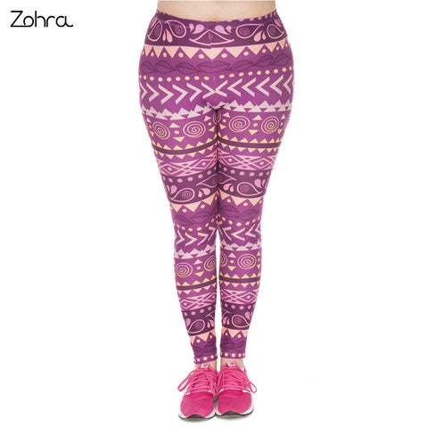 Large Size Leggings Boho Purple Printed High Waist Leggins Plus Size Trousers Stretch Pants