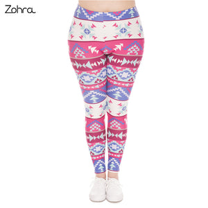 Large Size Leggings Boho Pink Printed High Waist Leggins Plus Size Trousers Stretch Pants