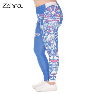 Large Size Leggings Blue Totem Printed High Waist Leggins Plus Size Trousers Stretch Pants