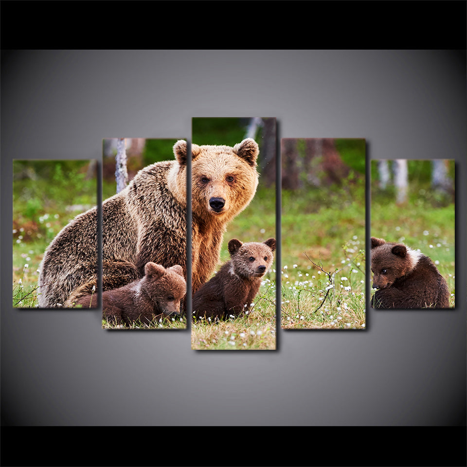 HD printed 5 piece canvas art animal poster bear family painting wall pictures for living room modern free shipping/CU-1541C