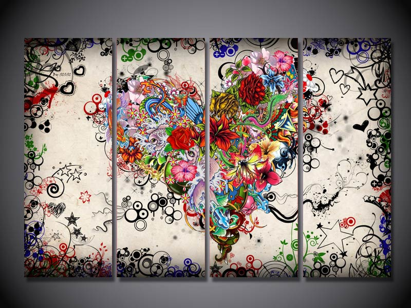 HD  Printed 4pcs canvas art flower love heart romance painting canvas pictures for living room Free shipping/ny-2525
