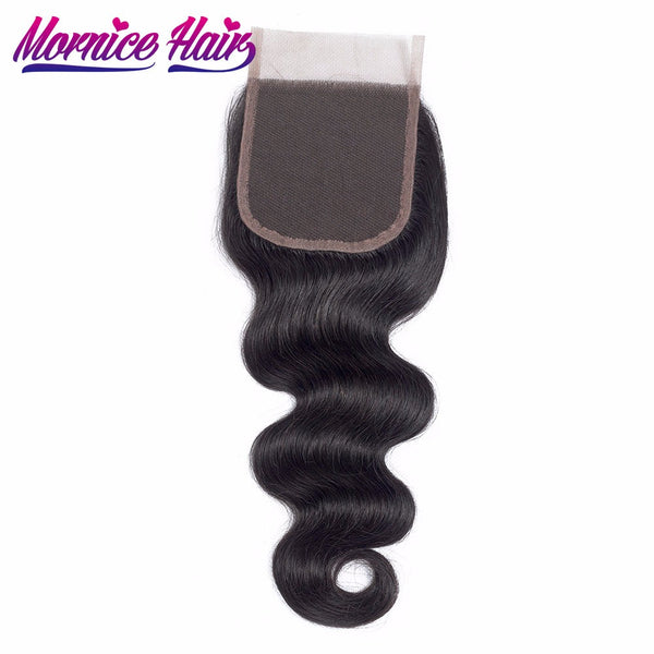 Mornice Hair Brazilian Body Wave Lace Closure 4X4 Free Part 100% Hand Tied Remy Human Hair Closure Density 130%