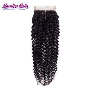 Mornice Hair Brazilian Kinky Curly Remy Hair Lace Closure Middle Part 4X4 Density 130% Natural Color Human Hair Free Shipping