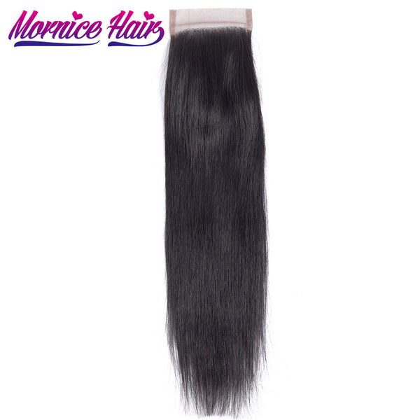 Mornice Hair Malaysian Straight Hair Lace Closure 4X4 Free Part 100% Hand Tied Remy Human Hair Closure Density 130%