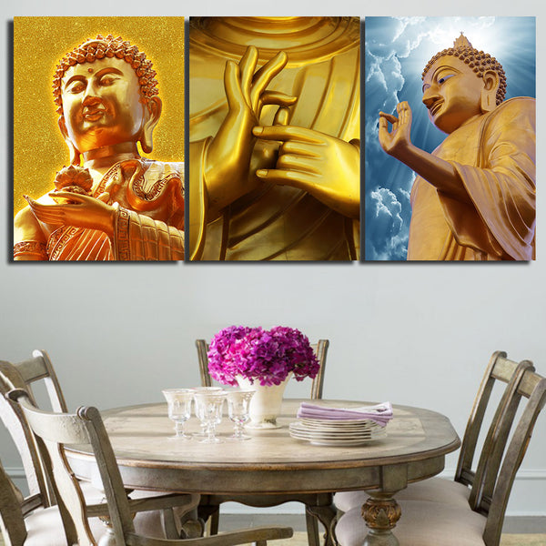HD print 3 piece buddha canvas golden buddha wall art Painting Zen canvas painting Free shipping/NY-6350
