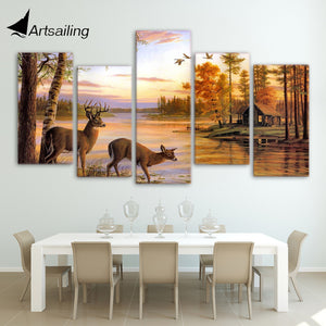 HD Printed 5 piece canvas art deer forest painting antelope to drink water framed canvas painting  Free shipping/ny-4411