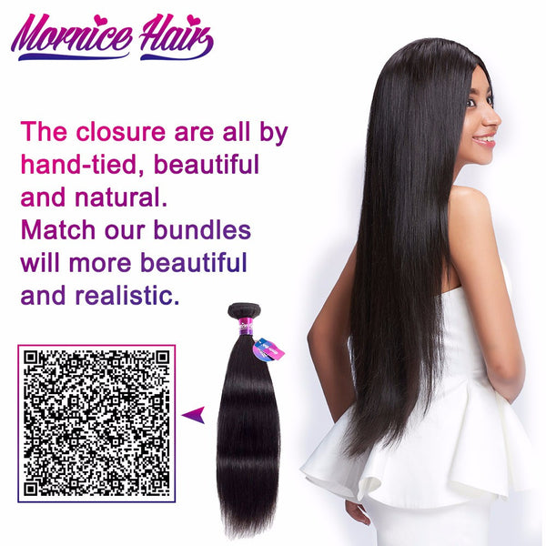 Mornice Hair Peruvian Straight Hair Lace Closure 4X4 Three Part 100% Hand Tied Remy Human Hair Closure Density 130%